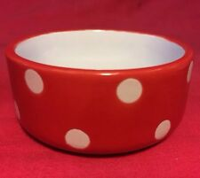 "Hamster Bowl Pot RED Polka Dot 3"" Round Dish Water Food Seed Treats Mice Rat"