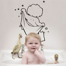 Boy Baby Kids Cat Bubbles Loving Bathing Bath Rest Room Wall Sticker Home Decor