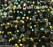 1000x 5mm ss20 Green Black AB Flat Back Round Jelly Resin Rhinestones Craft Gems