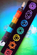 """HUGE 8"""" CHAKRA CRYSTAL WAND WITH QUARTZ POINT, LAVA ROCK ENDS,REIKI SYMBOL POUCH"""