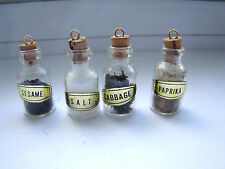 Vintage Dollhouse Kitchen Collectables Set of 4 Glass Spice Jars w/ Corks 261548