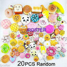 20Pcs Jumbo Medium Mini Random Squishy Soft Panda/Bread/Cake/Buns Phone Straps