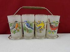 Birds Rubber Coated Tumbler Glass Set of 8 With Rack