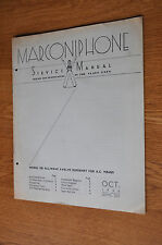 Marconiphone Model 556 all wave 5 valve superhet Genuine Service Manual
