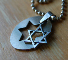Stainless Steel Star of David Pendant,28 inch Ball Chain,Necklace,Jewish,Hebrew