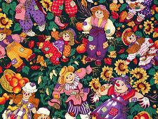 QUILT FABRIC ~ RAGGEDY ANN SCARECROW SUNFLOWER FALL AUTUMN HARVEST Cotton 6 yd