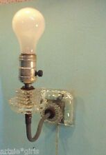 Vtg Wall Mount Light Fixture Sconce Plugs into Wall Outlet Cut/ Pressed Glass