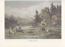"""1974 Vintage Currier & Ives HUNTING """"SHOOTING MOOSE FROM CANOE"""" COLOR Lithograph"""