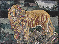 Giant Golden Wild Lion King Of The  Forest Jungle Marble Mosaic AN315