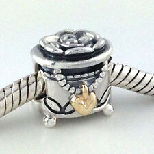 Authentic Pandora's Box Sterling Silver & 14k Bead Charm 791019,  New