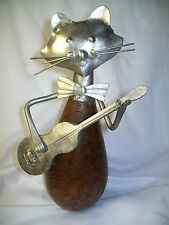 MID CENTURY CAT  METAL & WOOD PLAYING GUITAR STATUE FIGURE  KITTY SCULPTURE RARE