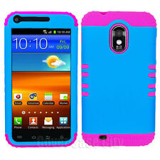 Samsung Galaxy S 2 S2 R760 US Cellular Hybrid Pink Rubber + Blue Hard Cover Case