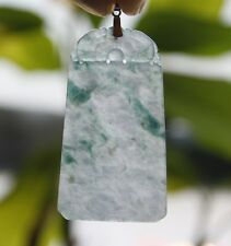 """G18K Certified Natural """"A"""" Perfect Icy Green Jadeite JADE Safety Dragon Pendant"""