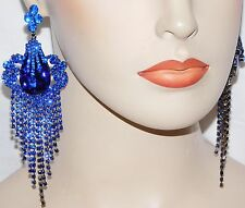 GLAMOROUS ROYAL BLUE RHINESTONE CRYSTAL CHANDELIER FASHION PARTY EARRINGS /4651