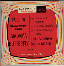 """PUCCINI! - """"SELECTIONS FROM MADAME BUTTERFLY"""" RCA VICTOR EP ERA-17 MONO 45 VG+!!"""