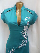 LATEST DESIGN Oriental Chinese Turquoise Silver PARTY dress size 24