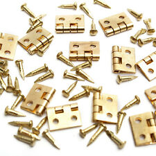 12pcs Mini Metal Hinges with Nails For 1/12 Dollhouse Miniature Furniture Decor
