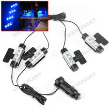 Set 4 Luci 3 LED Blu Regolabile + Accendisigari DC12V Decorazione Interna Auto