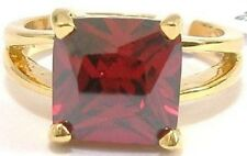18K GOLD EP 8.0CT GARNET SOLITAIRE RING WOW 9 or R 1/2