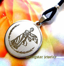 Men Women Guardian Angel Protection Amulet Stainless Steel Pendant Necklace