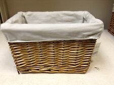 Woven Wicker storage Organizer Toy Laundry Stained Willow Basket Natural Liner