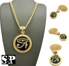 "Gold PT Egyptian Eye of Heru Round Pendant 6mm 24"" Cuban Chain Hip Hop Necklace"
