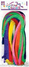 "Pipe Cleaners Coloured 20"" Chenille Sticks x 20 Jumbo Fluffy Assorted Colours"