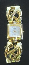 JOAN RIVERS CLASSIC CHUNKY LINK GOLD TONE WRISTWATCH OPALESCENT & CRYSTAL ACCENT