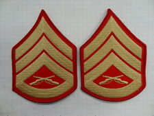 PAIR - MARINE CORPS SSGT SLEEVE RANK - MALE - GOLD ON RED   #USP694