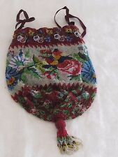 Antique Drawstring Silver Red Blue Maroon Floral Garden Micro Bead Purse Tassels