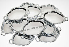 12 PC SILVER PLASTIC TRAY PLATTER WEDDING PARTY FAVORS DECORATIONS QUINCEANERA