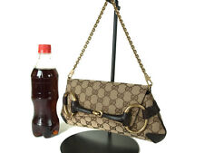 Authentic GUCCI GG Pattern Canvas Leather Browns Chain Shoulder Bag GS12073L