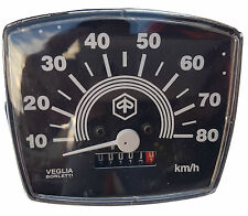 VESPA SPEEDOMETER SQUARE SMALL FRAME V50 SPECIAL 0-80KM NEW BLACK KM PER HOUR