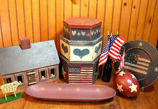 Primitive Home Decor Collection, Americana Folk Art, Red, White and Blue