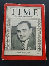 MAGAZINE TIME AL CAPONE   SCARFACE   ALPHONSE  MARCH  24  1930