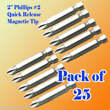 "25 2"" Phillips #2 Screw Driver Bit Quick Release 1/4 Hex Shank Magnetic Tip PH2"