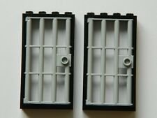 LEGO barred door gate 1x4x6 black grey x2 for castle prison dungeon jail bars +