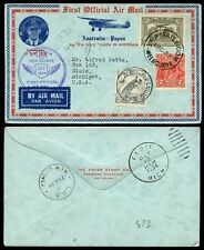 NEW GUINEA 1934 AUSTRALIA FIRST OFFICIAL AIRMAIL ILLUST.ENVELOPE...FAULT...LAE