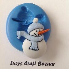 Silicone Mould Sugarcraft Snowman Xmas Card Cake Topper Sculpey Jewellery icing
