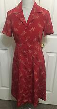 SUNDANCE CATALOG 6 P Petite red gold button front 100% silk floral shirt dress