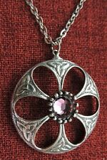 Celtic Endless Knot Dome Iona Amethyst Swarovski Crystal Pewter Pendant Necklace