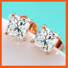 9K ROSE GOLD FILLED PRINCESS CUT SQUARE DIAMOND MEN LADY GIFT SOLID STUD EARRING