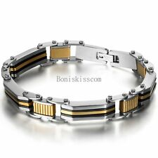 Gold Silver Tone Biker Stainless Steel Chain Link Wristband Bracelet for Men