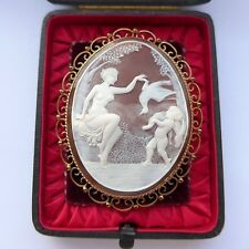 "Very Fine Large Carved Shell Cameo Brooch  3"" x 2 1/4"" 9ct Gold Frame C.1900"