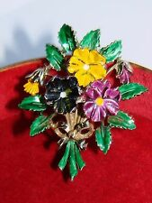 Vintage Exquisite Enamel Pansy Flowers/Floral1960s Brooch Pin - Signed