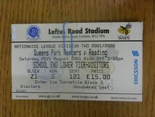 25/08/2001 Ticket: Queens Park Rangers v Reading  (folded & creased). Thanks for