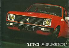 Catalogue PEUGEOT 104 catalog catalogo propectus brochure prospekt publicité