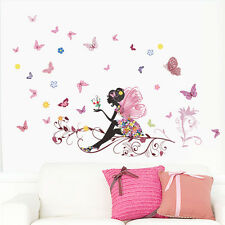 Removable Flower Fairy Butterfly Wall Sticker Vinyl Decal Home Girl Room Decor