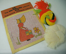 Vintage HAND PAINTED NEEDLEPOINT KIT Sunbonnet Sue with Handbag Boodle Bag 6""