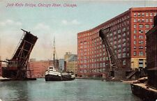 Illinois postcard Chicago, Jack Knife Bridge, Chicago River